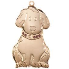Brass Birthstone Dog Ornament, February