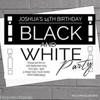 12 x Personalised Black White Themed Birthday Party Invitations | H0539