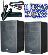 SET KARAOKE 600W : 2 CASSE AMPLIFICATE + 2 MICROFONI WIRELESS + CAVETTERIA new