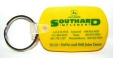 John Deere 2000 Deer Logo SOUTHARD IMPLEMENT Iowa Yellow Rubber Key Chain jd