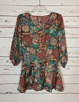 Matilda Jane Women's S Small Brown Floral 3/4 Sleeves Spring Tunic Top Blouse