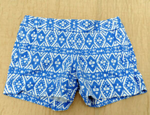 "J. Crew City Fit Stretch SZ 8 Blue & White Side Zip Shorts 5"" Inseam"