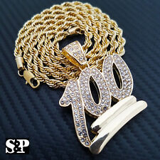 """FULL ICED OUT HIP HOP RAPPER'S EMOJI 100 PENDANT W/ 5mm 30"""" ROPE CHAIN NECKLACE"""