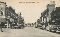 Skowhegan Maine~MOZE~Rexall~Water St~Carroll Cut-Rate 1930s Cars Postcard