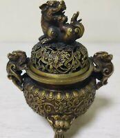 antique old Bronze Signed lucky dragon lion Statue incense burner Censer