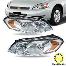 2006 2013 For Chevy Impala Headlights Headlamps Pair Chrome Housing Clear Lens Fits 2006 Impala