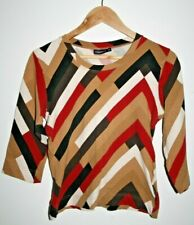 Tom Tailor Women's Casual Top Geometric 3/4 Sleeve Multicolored Blouse Size M