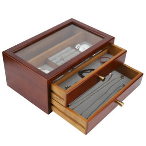 Vintage Wooden Storage Box with Drawer Jewelry Cosmetics Display Case Organizer