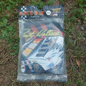 FACTORY SEALED NOS Vintage 90s NASCAR #2 Rusty Wallace Miller TShirt XL USA Made