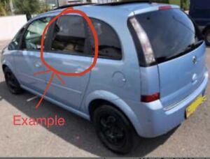 Vauxhall Meriva 2004 - 2010 Tinted Window Glass Passenger Side Back Door  OSR