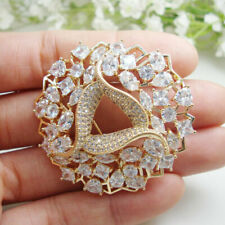 Woman's Luxurious Zircon Crystal Flower Wreath Bride Clear Brooch Pin Gold Tone
