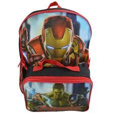 """Marvel Avengers 16"""" Large Back Pack + Lunch Kit, Schoolbag, Rucksack,UK SELLER"""