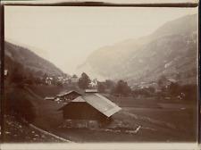 Suisse, Vue d'un village et une vallée, ca.1906, vintage citrate print Vint