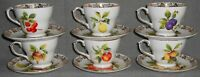 Set (6) Duchess Bone China FRUIT MOTIF PATTERN Cups and Saucers ENGLAND