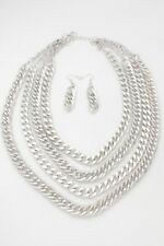 Women Fashion Jewelry Set Necklace Silver Metal Chunky Chain Thick Link 4 Strand