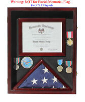 Military Shadow Box 3'X5' Flag Display Case with Certificate Frame, FC17-MAH