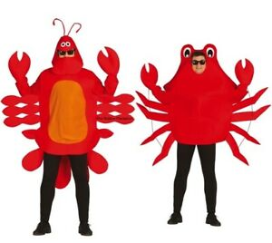 Adult's Lobster Crab Costume Fancy Dress Animal Sea Life Mens Ladies Outfit