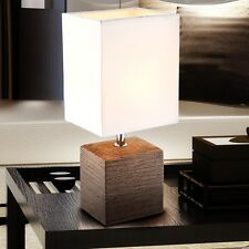Side Table Lamp Guest Room Ceramic Brown Switchable Textile Lamp White E14