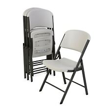 Lifetime Commercial Grade Contoured Folding Chair, 4 Pack *Almond on Grey*