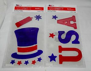 Gel Clings 4th Of July Celebrate It 2ea Reusable Washable Hat Firecracker 45J