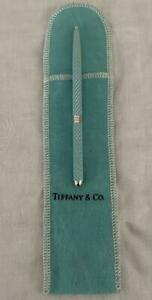 Tiffany Blue Lacquer Ballpoint Purse Pen Sterling Diamond Texture +Bag $250Retal