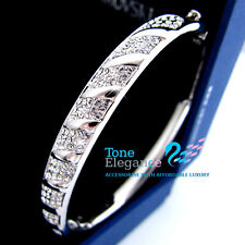 9k 9ct white gold GF solid  Bracelet bangle w/ swarovski elements crystal