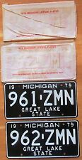 Michigan 1979 SINGLE PLATE YEAR CONSECUTIVE NUMBER License Plates SUPERB QUALITY