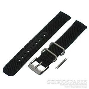 Seiko Watch Strap f/ Seiko 5 Field SNK809 7S26-02J0 18mm Black Nylon Fabric Band