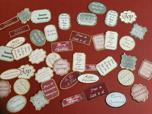 Foiled CRAFT STASH Christmas Sentiments Card Toppers 40