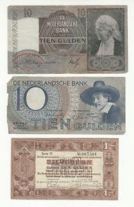 Netherlands 3x circ. banknotes @ low start