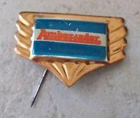 Vintage AMBASSADOR UK motorcycle motorbike lapel pin badge bike rider logo 1960s