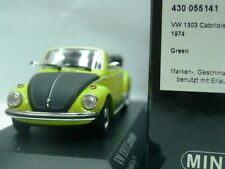 WOW EXTREMELY RARE VW Beetle Käfer 1303 Cabriolet 1974 Mnt Green 1:43 Minichamps
