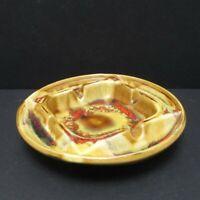 "Vintage Maurice of California Pottery Drip Glaze Ashtray 1970s 6"" Diameter 1702"