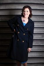 BELLISSIMO VINTAGE BLU NAVY BLUE Stevens Forstmann Cappotto petto singolo 1950 S 1960 S