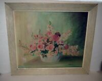 Antique  Painting VASE OF PINK & RED FLOWERS - NOTED ARTIST HELEN ROCKWELL