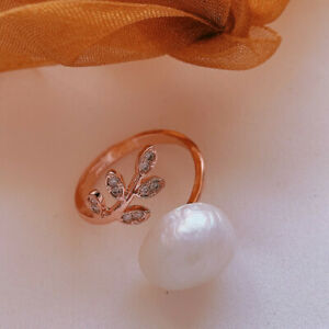 12-13MM White Baroque Pearl Open Adjustable Ring 18KGP Cultured Accessories