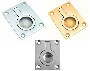 FLUSH RING PULL Handle Trap Door Furniture Cabinet Cupboard Recessed Door Pull