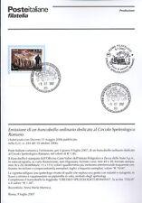 ITALIA 2007 CIRCOLO SPELEOLOGICO ROMANO  BOLLETTINO COMPLETO DI FRANCOBOLLI FDC
