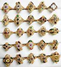 Wholesale Lots of 25pc Asorted Colorful Indian 24k GoldPlated Brass Ring 16-19mm