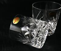 Pair stunning Royal Brierley Vintage Lead Crystal Whisky Glasses Tumbler Braemar