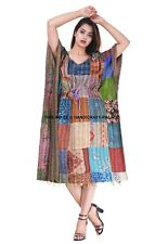 Silk Kantha Plus Size Womens Boho Maxi Dress Loose Beach Casual Summer Kaftan