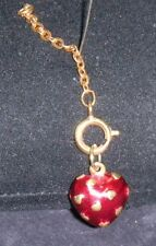 Joan Rivers Gold Tone Red Enamel Heart Charm Covered w Raised Gold Hearts Exc!