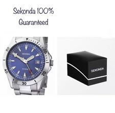 Sekonda Gents Blue Date Stainless Steel Bracelet Watch 3279 With Gift Box New
