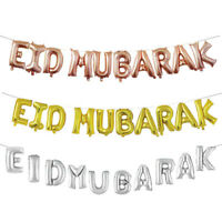 16inch Eid Mubarak Balloons Helium Glitter Banner Bunting Garland Decoration