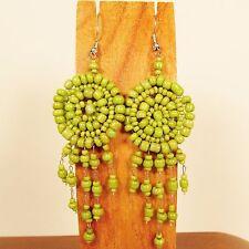 "2 1/2"" LONG Green Handmade Dream Catcher Style Dangle Seed Bead Earring"
