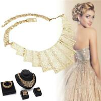 Gold Plated Crystal Rhinestone Necklace Bracelet Earrings Ring Wedding Sets DI