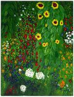 Farmer Garden With Sunflowers - Hand Painted Gustav Klimt Oil Painting On Canvas