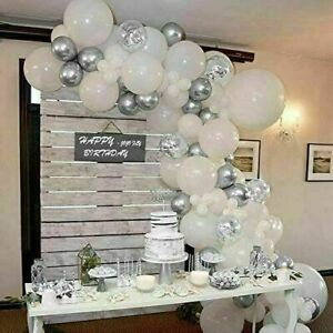 White Balloons Arch Kit +Balloons Garland Birthday Baby Shower Wedding Party
