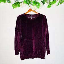 Fabletics Liane Pullover Velour Sweater sz Large Eggplant Purple Long Sleeve