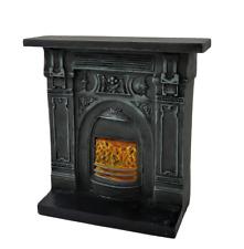 Dolls House Victorian Cast Iron Fireplace Burning Coals 1:12 Resin Furniture